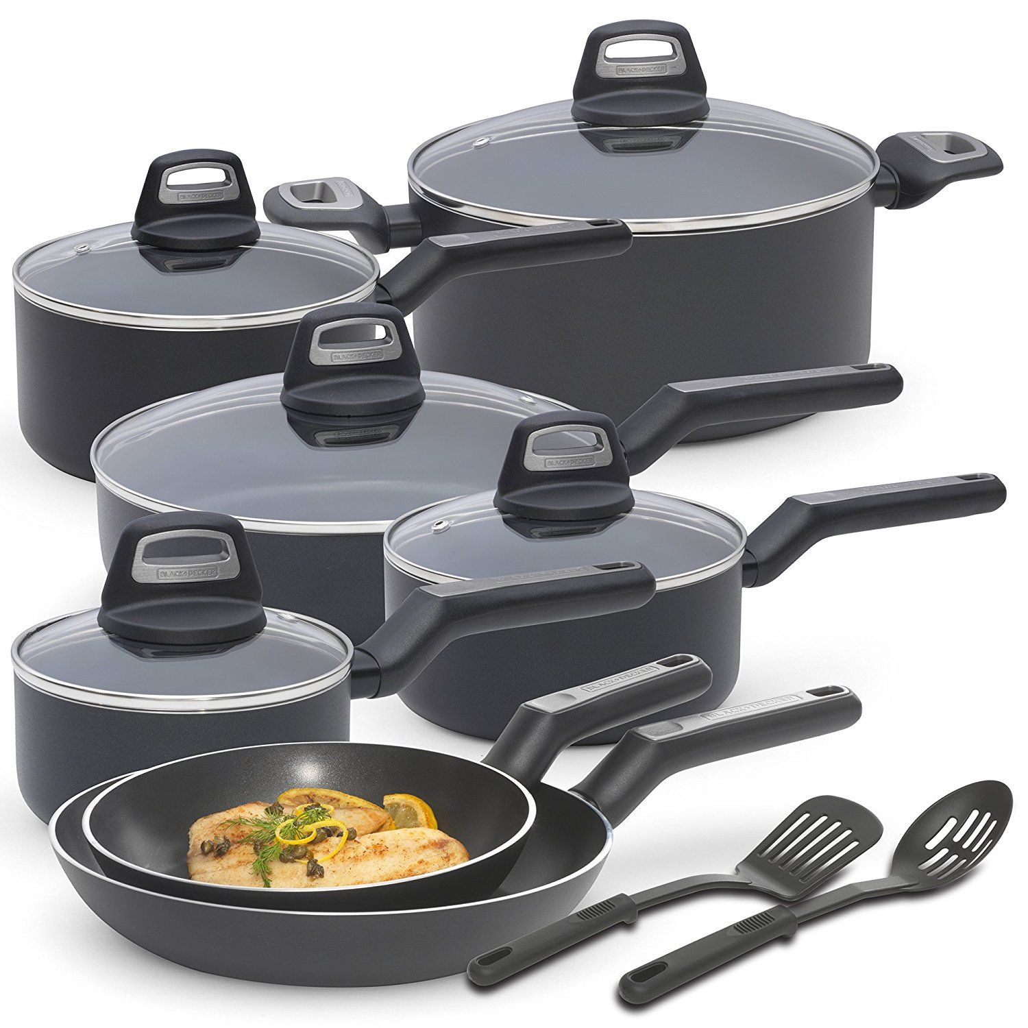 BLACK & DECKER 83365 14 Piece Durable Titanium Nonstick Interior Cookware Set