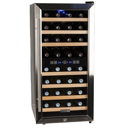 Koldfront 32 Bottle Free Standing Dual Zone Wine Cooler