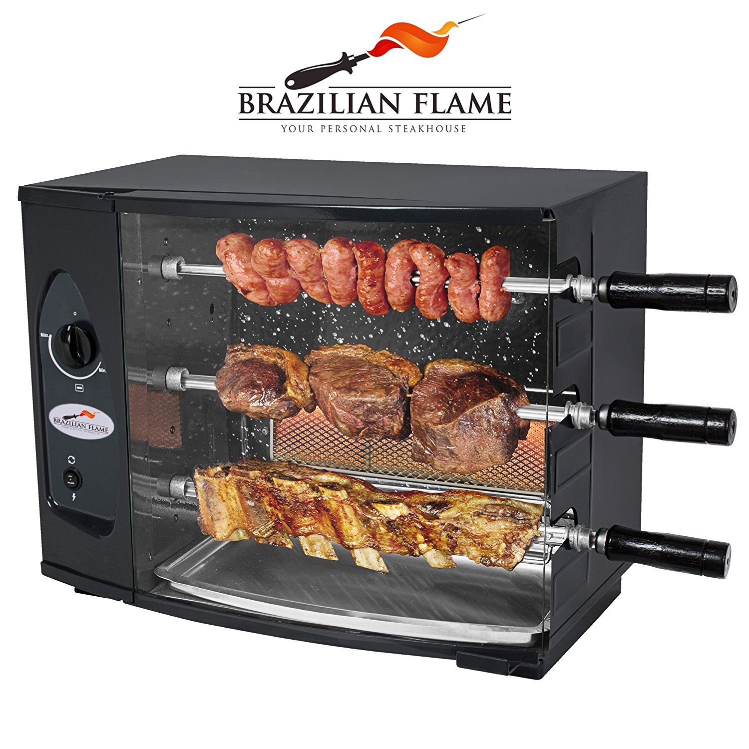 Brazilian Flame 3 Skewer Rotisserie Gas Barbecue / Grill by Arke