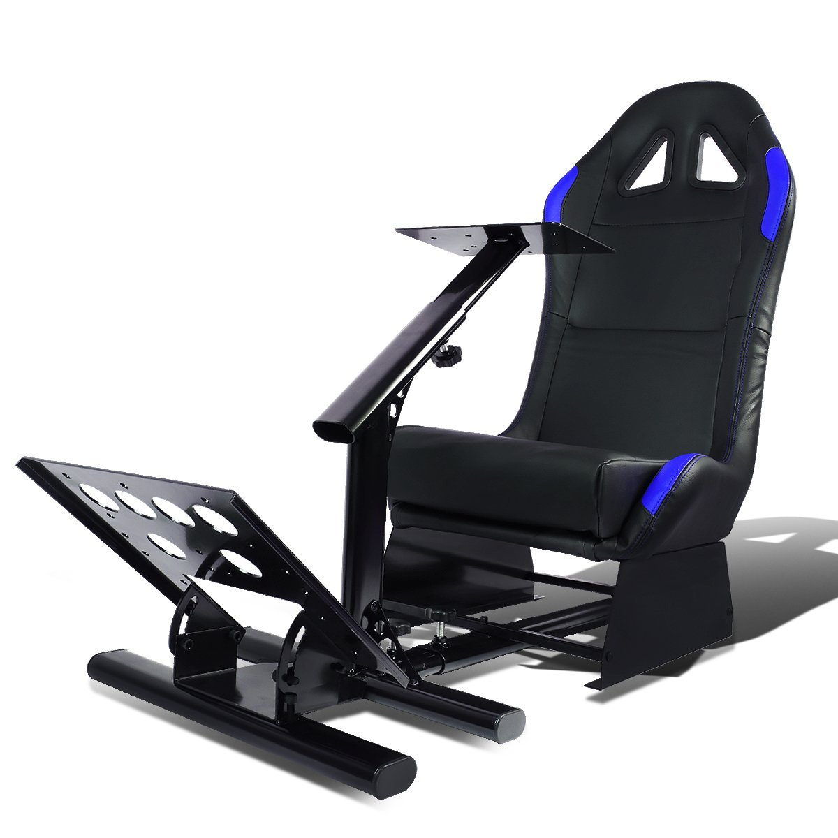 Racing Seat Driving Simulator Cockpit Adjustable Gaming Chair + Steering Wheel