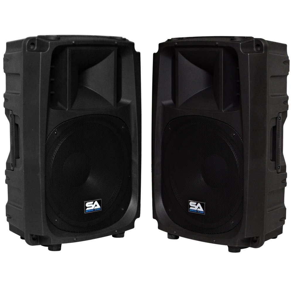 Seismic Audio – S_Wave-15-Pair – Pair of Passive 15 Inch 2-Way PA/DJ Speaker Cabinets
