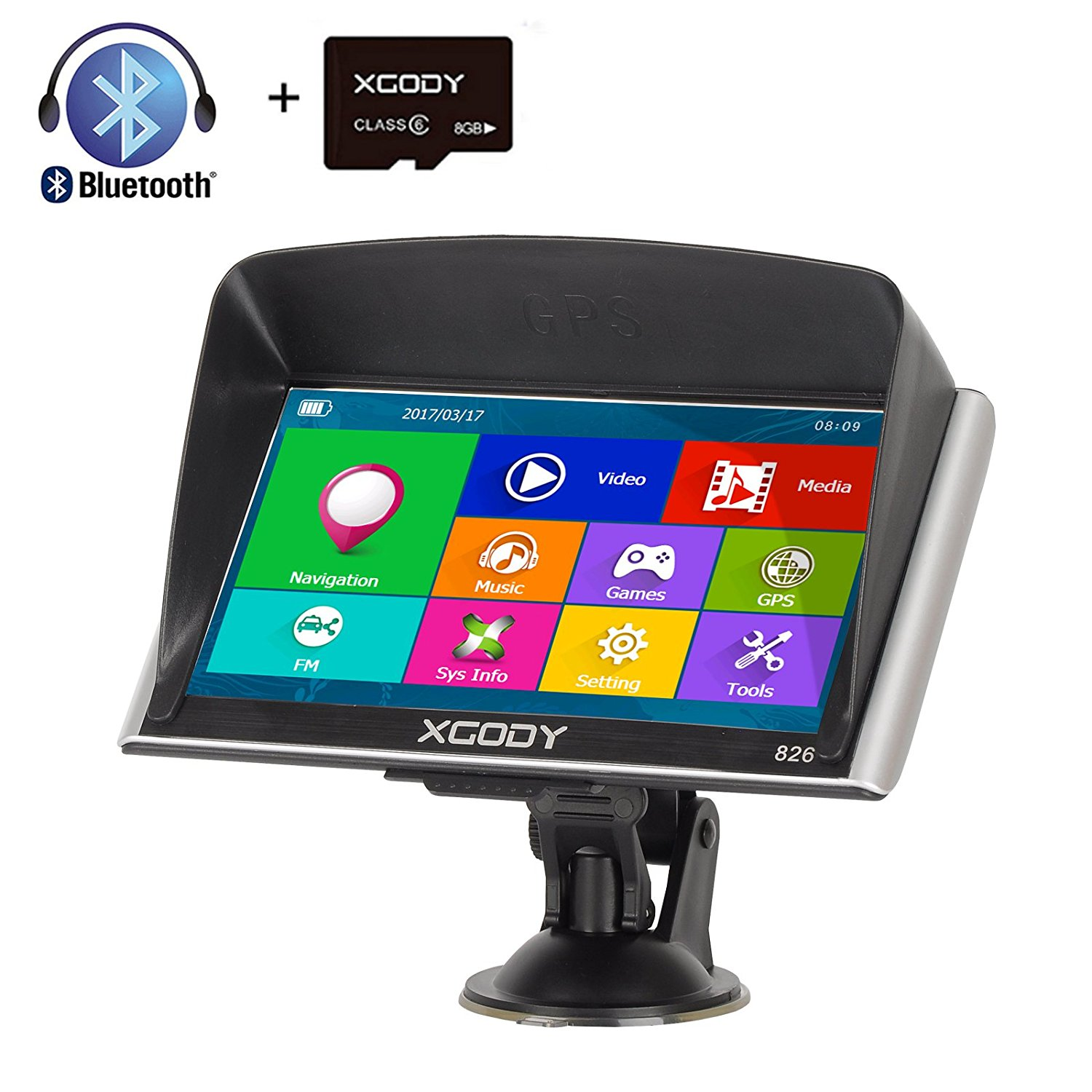 Xgody 16GB (8GB ROM + 8GB TF Card) 826BT Car Truck GPS Navigation System