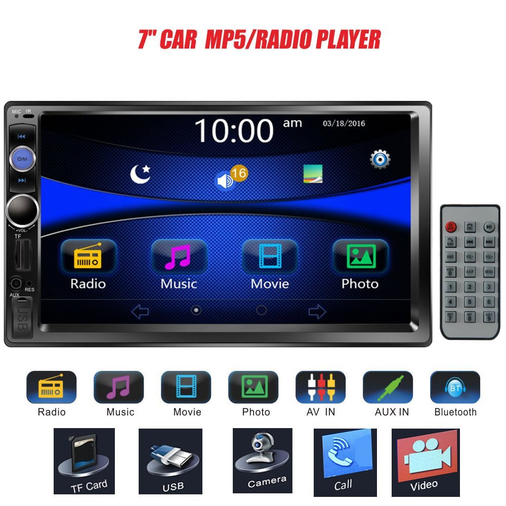 Regetek 7″ Double DIN Touchscreen In Dash Bluetooth Car Stereo Mp3 Audio 1080P Video Player FM…