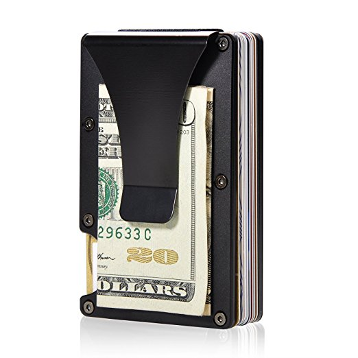 Aluminum Slim Wallet Front Pocket Wallet & Money Clip Minimalist Wallet RFID Blocking