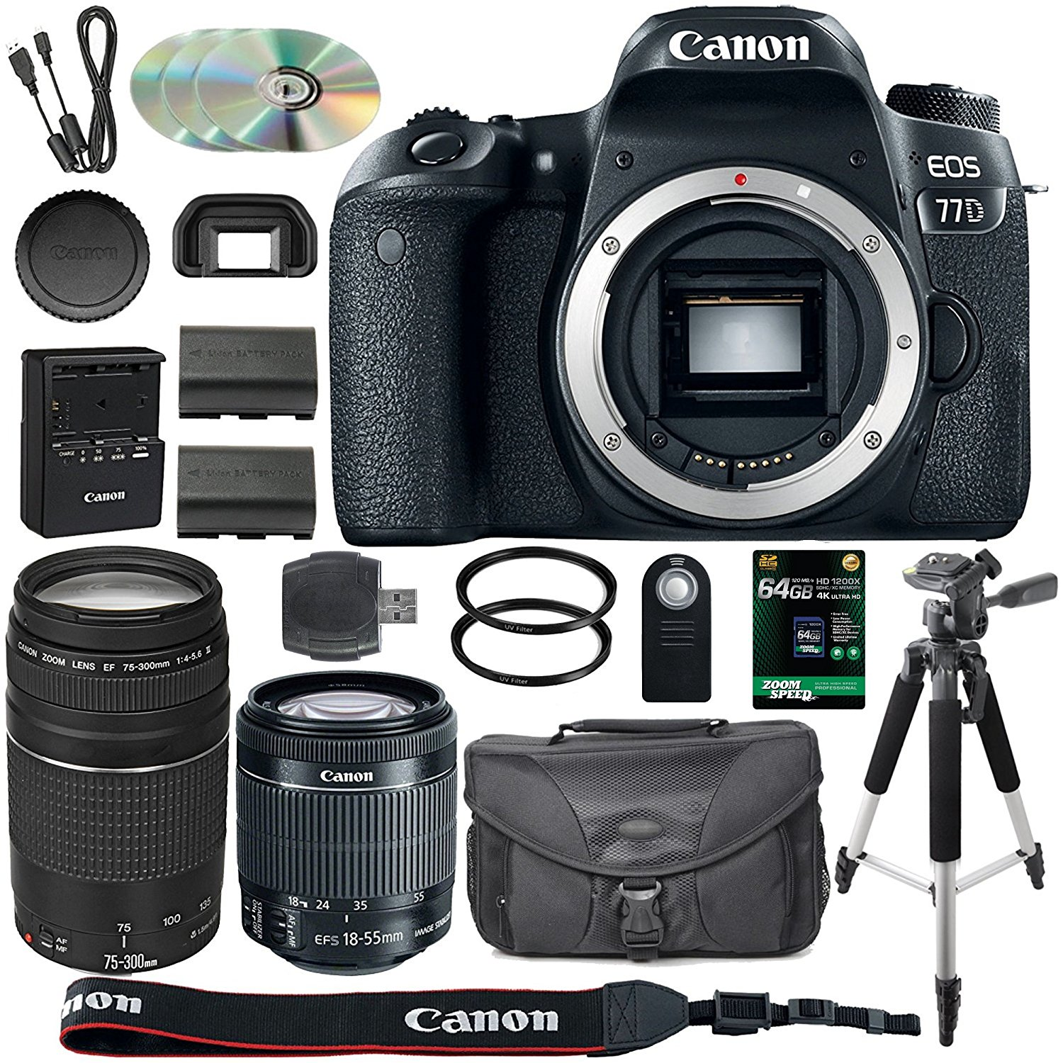 Canon EOS 77D DSLR Camera + 18-55mm STM + 75-300mm III Lens + Spare LP-E17 Battery + Two Ultraviolet Filters + 64GB SDXC Card + SLR Bag + Remote + Tripod & More