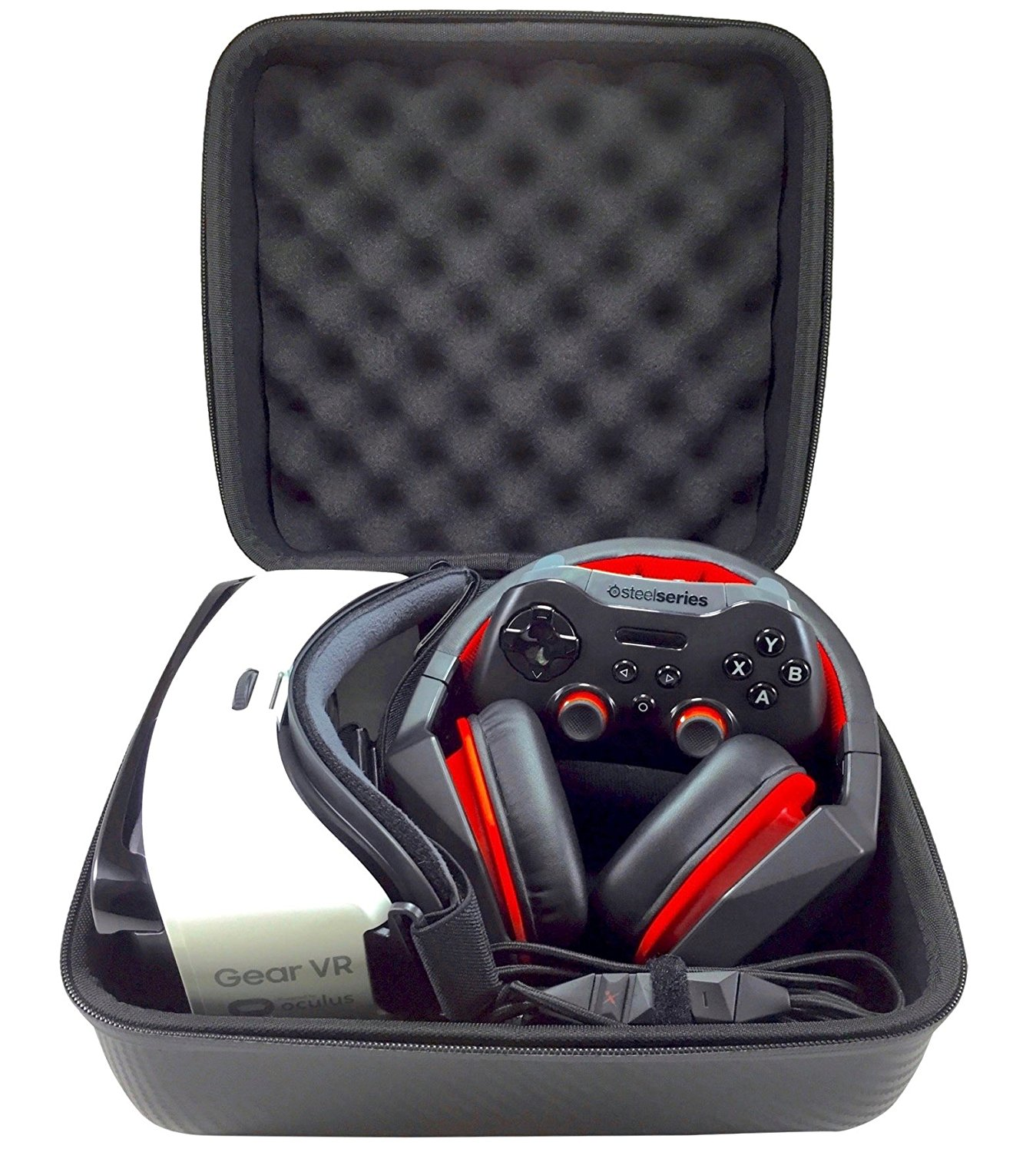 Graphein VR Headset and Accessory Case with Egg Crate Foam