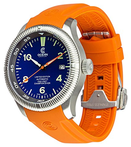 Ocean Crawler Champion Diver Automatic Watch, Blue Dial, Rubber Strap And Premium Leather Band.