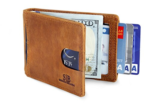 SERMAN BRANDS- RFID Blocking Bifold Slim Genuine Leather Thin Minimalist Front Pocket Wallets for Men Money Clip