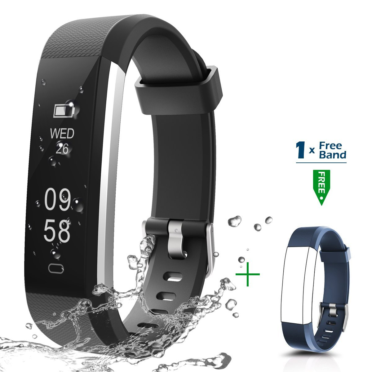Fitness Tracker, CHEREEKI Activity Tracker IP67 Waterproof with Replaceable Strap